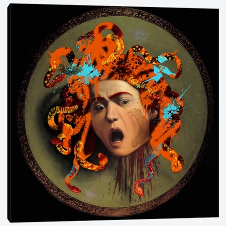 Medusa -The Lady with pet Snakes on her Head Canvas Print #RRX25} by 5by5collective Canvas Wall Art