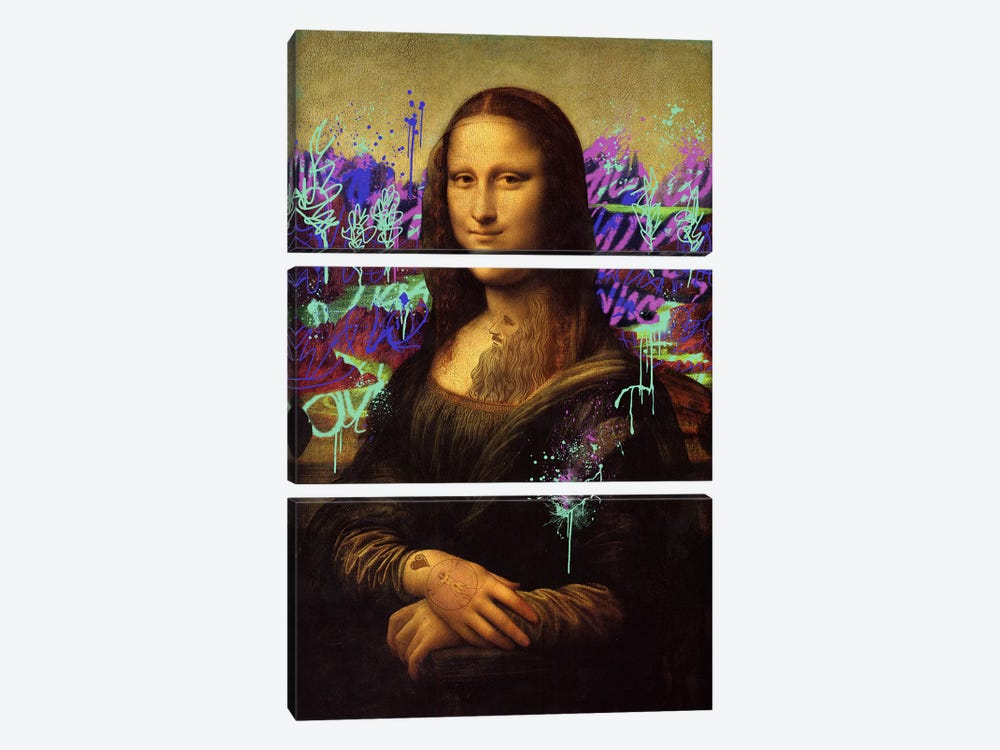 Mona Lisa -The Perfect Smile by 5by5collective 3-piece Canvas Print