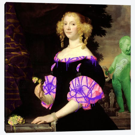 Portrait of a Woman -The Lady with the Green Baby Canvas Print #RRX28} by 5by5collective Art Print