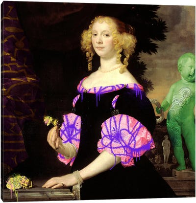 Portrait of a Woman -The Lady with the Green Baby Canvas Art Print
