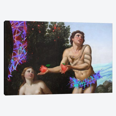 God admonishing Adam and Eve -The Apples that need to be Eaten Canvas Print #RRX2} by 5by5collective Canvas Art