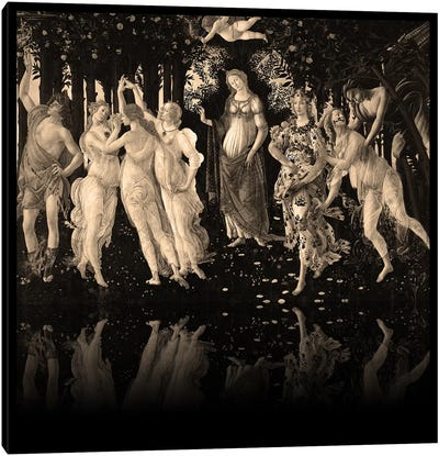 Primavera -The Celebration of Spring Sepia Canvas Art Print