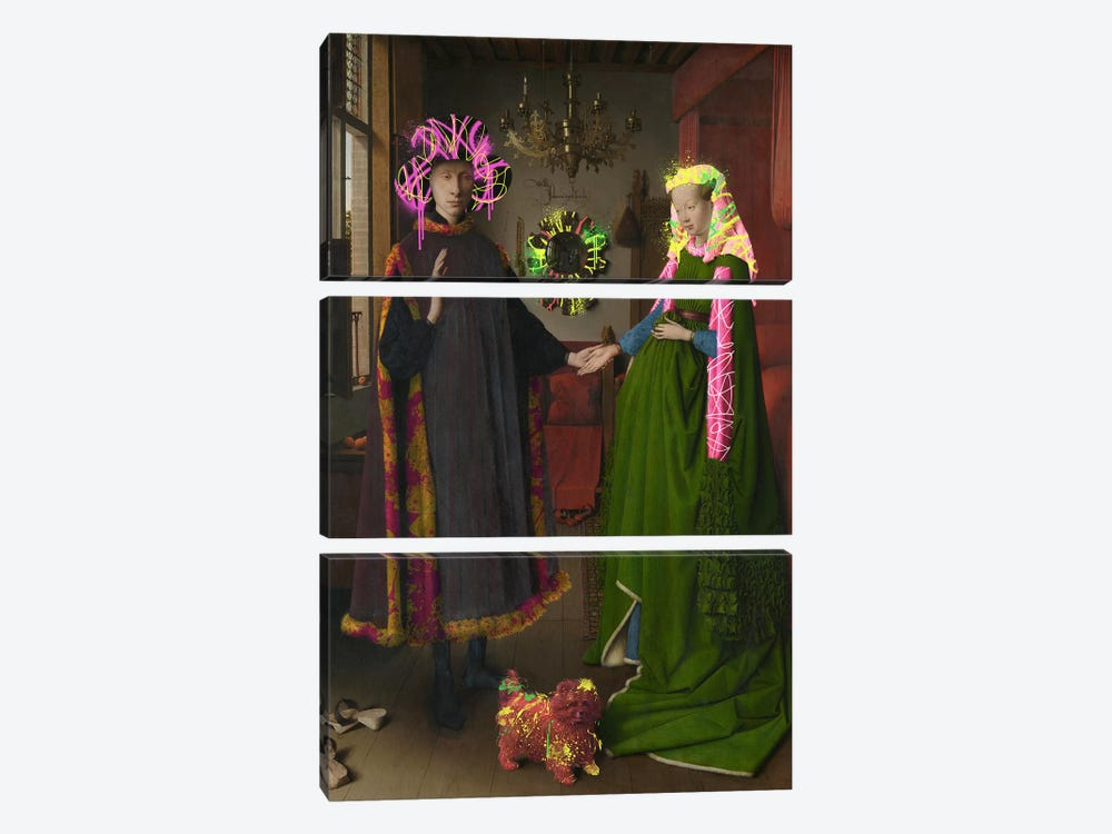The Arnolfini Portrait -Double Wedding Portrait by 5by5collective 3-piece Canvas Print