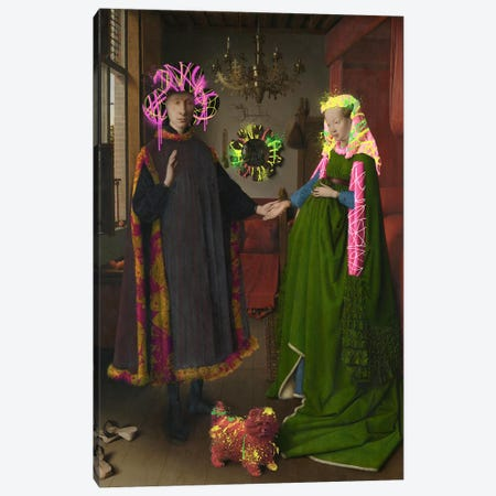 The Arnolfini Portrait -Double Wedding Portrait Canvas Print #RRX33} by 5by5collective Canvas Art