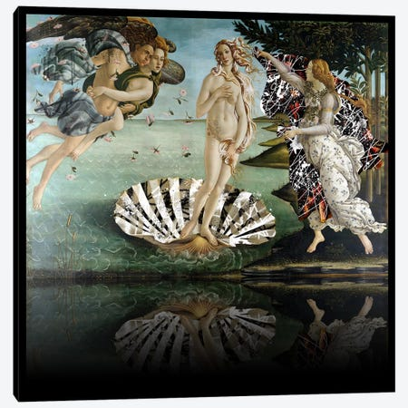 The Birth of Venus -The Lady on the Seashell Black and White Canvas Print #RRX35} by 5by5collective Canvas Art Print
