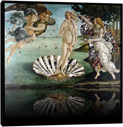 The Birth of Venus -The Lady on the Seashell Black and White Canvas Print #RRX35