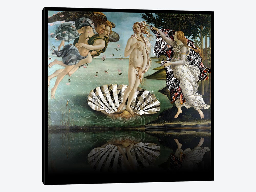 The Birth of Venus -The Lady on the Seashell Black and White 1-piece Canvas Art Print