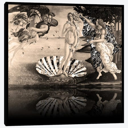 The Birth of Venus -The Lady on the Seashell Sepia Canvas Print #RRX36} by 5by5collective Art Print