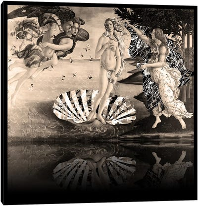 The Birth of Venus -The Lady on the Seashell Sepia Canvas Art Print