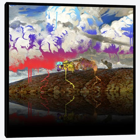 Soil -The Two Cows Plowing Soil Red, Blue, and Purple Canvas Print #RRX40} by 5by5collective Art Print