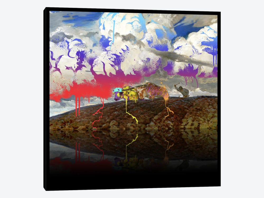 Soil -The Two Cows Plowing Soil Red, Blue, and Purple by 5by5collective 1-piece Canvas Print