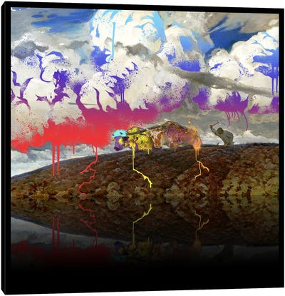 Soil -The Two Cows Plowing Soil Red, Blue, and Purple Canvas Art Print