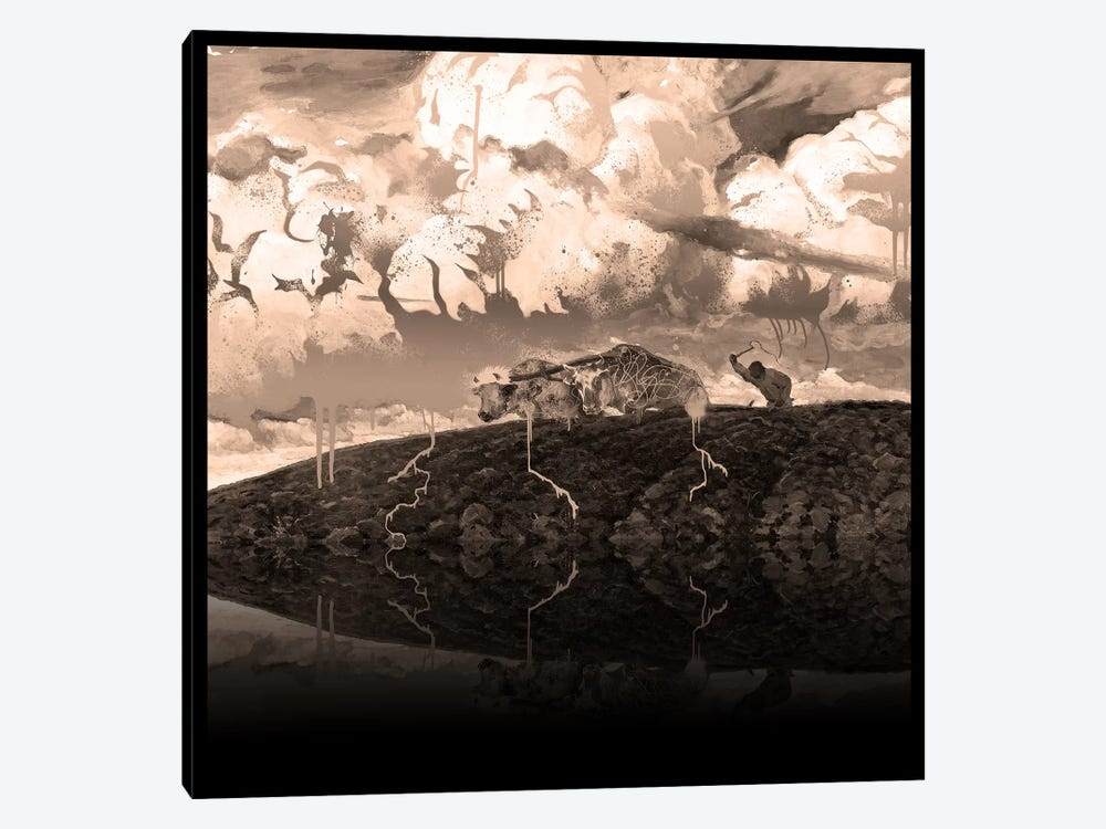 Soil -The Two Cows Plowing Soil Sepia by 5by5collective 1-piece Canvas Artwork