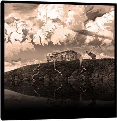Soil -The Two Cows Plowing Soil Sepia Canvas Art Print