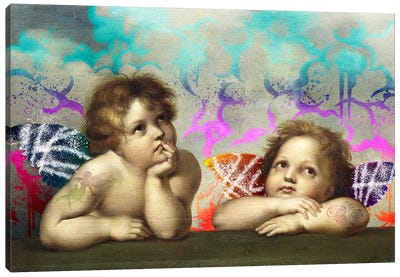 Sistine Madonna -The Two Bored Angels Canvas Art Print