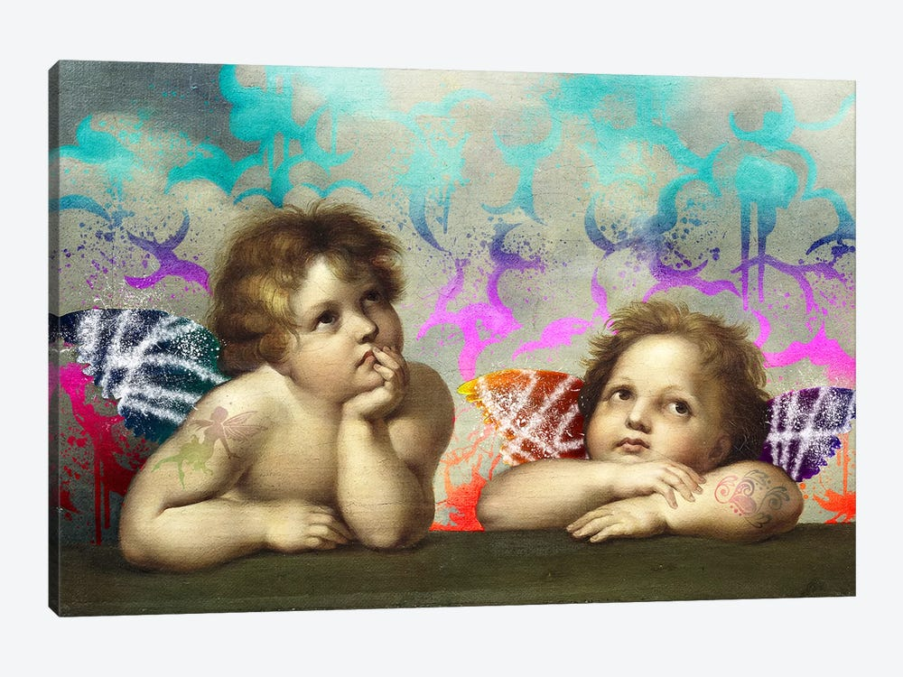 Sistine Madonna -The Two Bored Angels by 5by5collective 1-piece Canvas Print