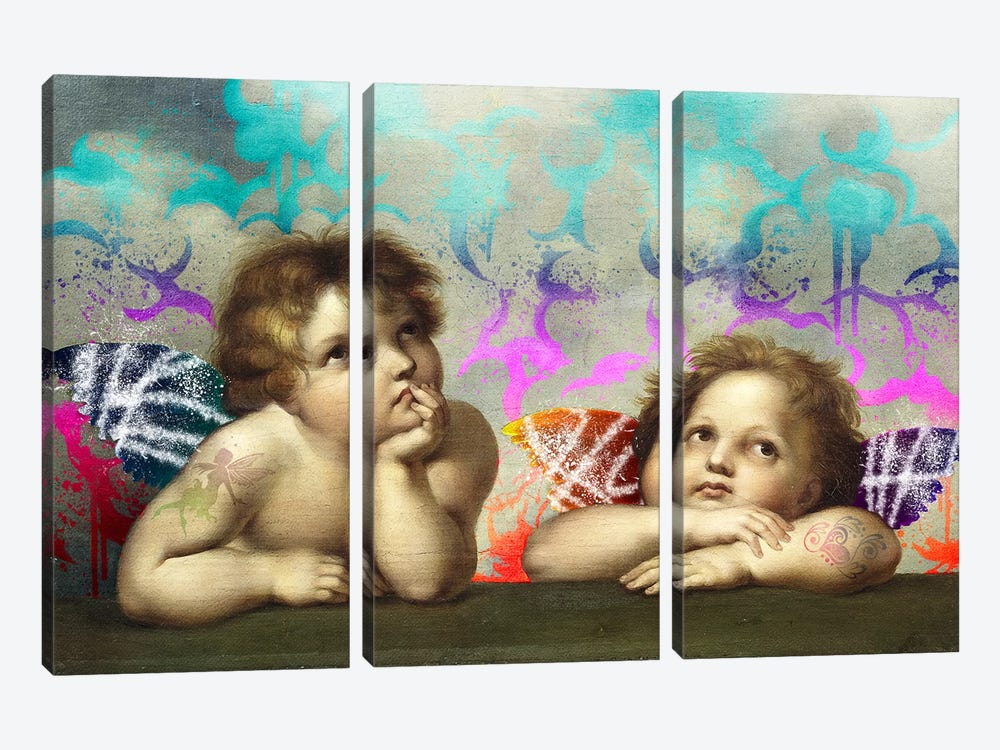 Sistine Madonna -The Two Bored Angels by 5by5collective 3-piece Art Print