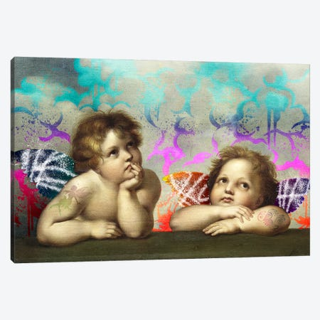 Sistine Madonna -The Two Bored Angels  Canvas Print #RRX42} by 5by5collective Art Print