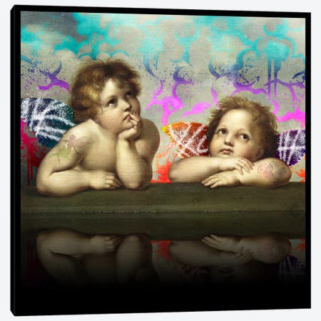 Sistine Madonna -The Two Bored Angels Blue and Red Canvas Print #RRX43} by 5by5collective Canvas Print