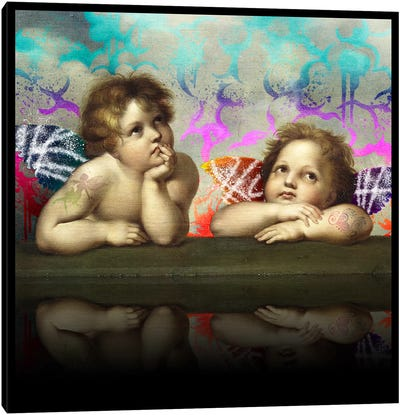 Sistine Madonna -The Two Bored Angels Blue and Red Canvas Art Print