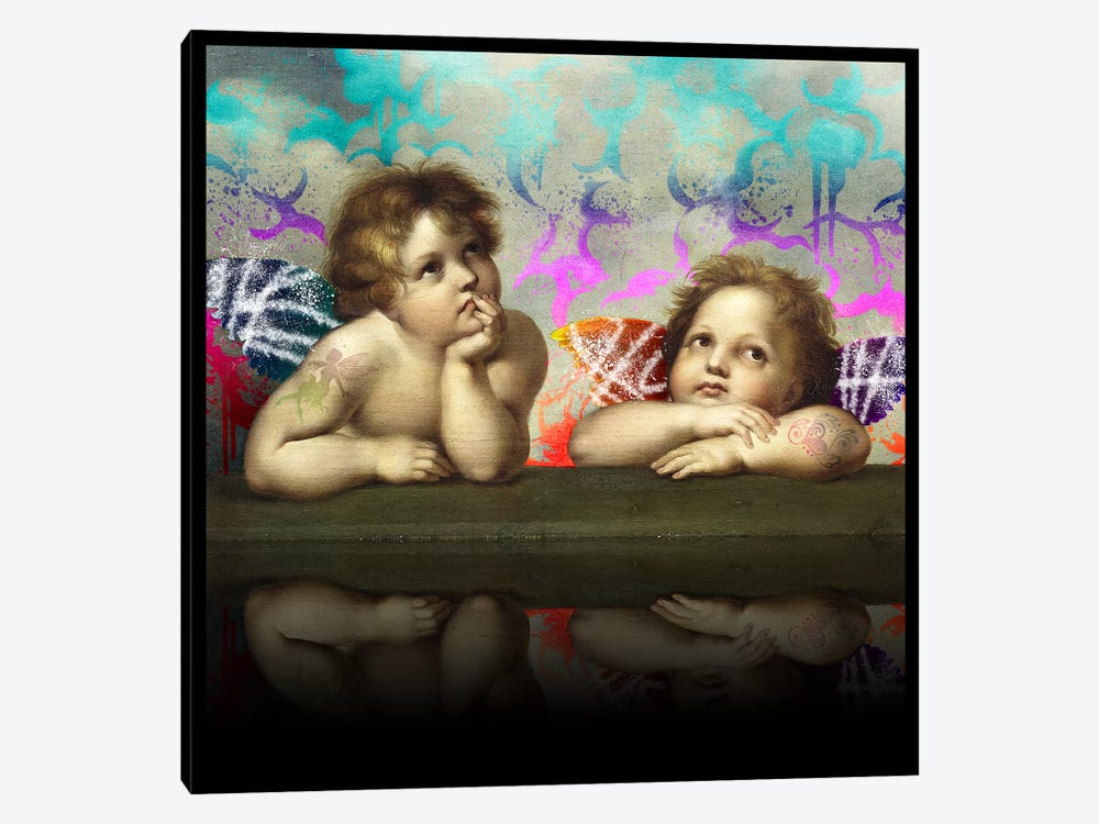 Sistine Madonna -The Two Bored Angels Blue and Red by 5by5collective 1-piece Canvas Wall Art