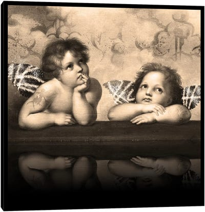 Sistine Madonna -The Two Bored Angels Sepia Canvas Print #RRX44