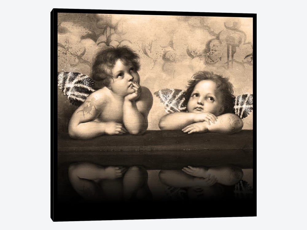 Sistine Madonna -The Two Bored Angels Sepia by 5by5collective 1-piece Canvas Print