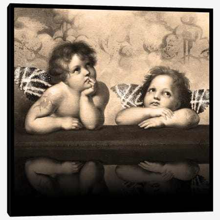 Sistine Madonna -The Two Bored Angels Sepia Canvas Print #RRX44} by 5by5collective Canvas Art
