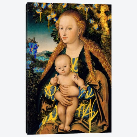 The Virgin and Child under an Apple Tree -The Mother and Son under an Apple Tree Canvas Print #RRX45} by 5by5collective Canvas Art