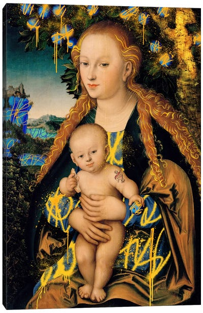 The Virgin and Child under an Apple Tree -The Mother and Son under an Apple Tree Canvas Art Print