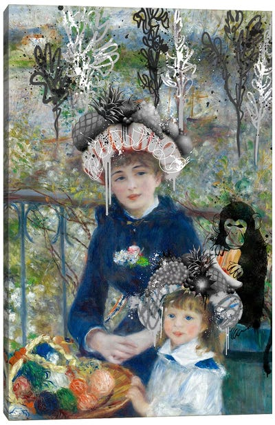 Two Sisters (On the Terrasse) -Springtime Picnic with a Monkey Canvas Art Print