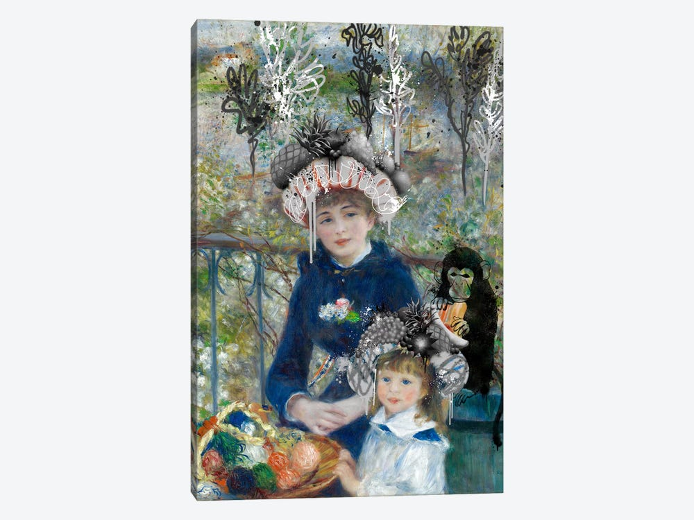 Two Sisters (On the Terrasse) -Springtime Picnic with a Monkey by 5by5collective 1-piece Canvas Art Print