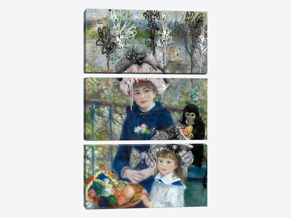 Two Sisters (On the Terrasse) -Springtime Picnic with a Monkey by 5by5collective 3-piece Art Print