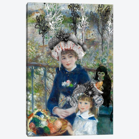 Two Sisters (On the Terrasse) -Springtime Picnic with a Monkey 3-Piece Canvas #RRX46} by 5by5collective Canvas Art