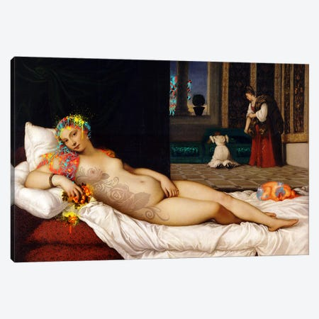 Venus of Urbino -The Lady waiting to be Dressed  Canvas Print #RRX47} by 5by5collective Canvas Art