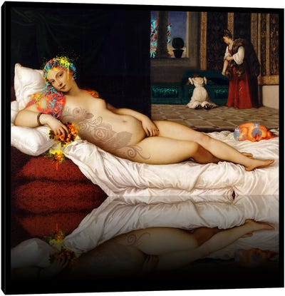 Venus of Urbino -The Lady waiting to be Dressed Red and Yellow Canvas Print #RRX48