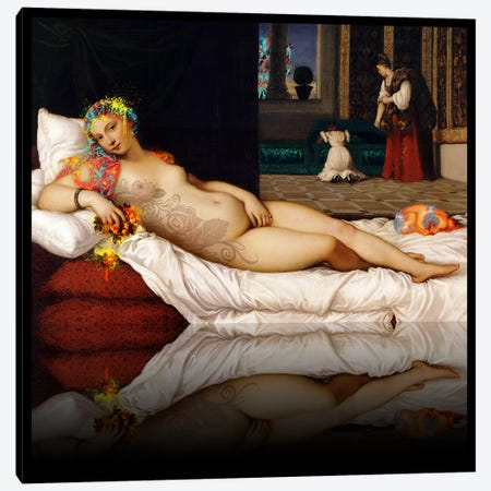 Venus of Urbino -The Lady waiting to be Dressed Red and Yellow Canvas Print #RRX48} by 5by5collective Canvas Print