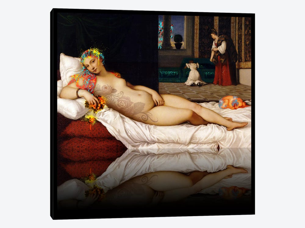 Venus of Urbino -The Lady waiting to be Dressed Red and Yellow by 5by5collective 1-piece Canvas Print