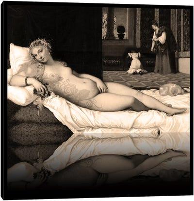 Venus of Urbino -The Lady waiting to be Dressed Sepia Canvas Print #RRX49