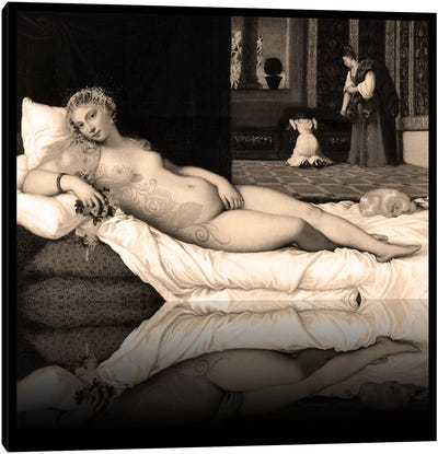 Venus of Urbino -The Lady waiting to be Dressed Sepia Canvas Art Print