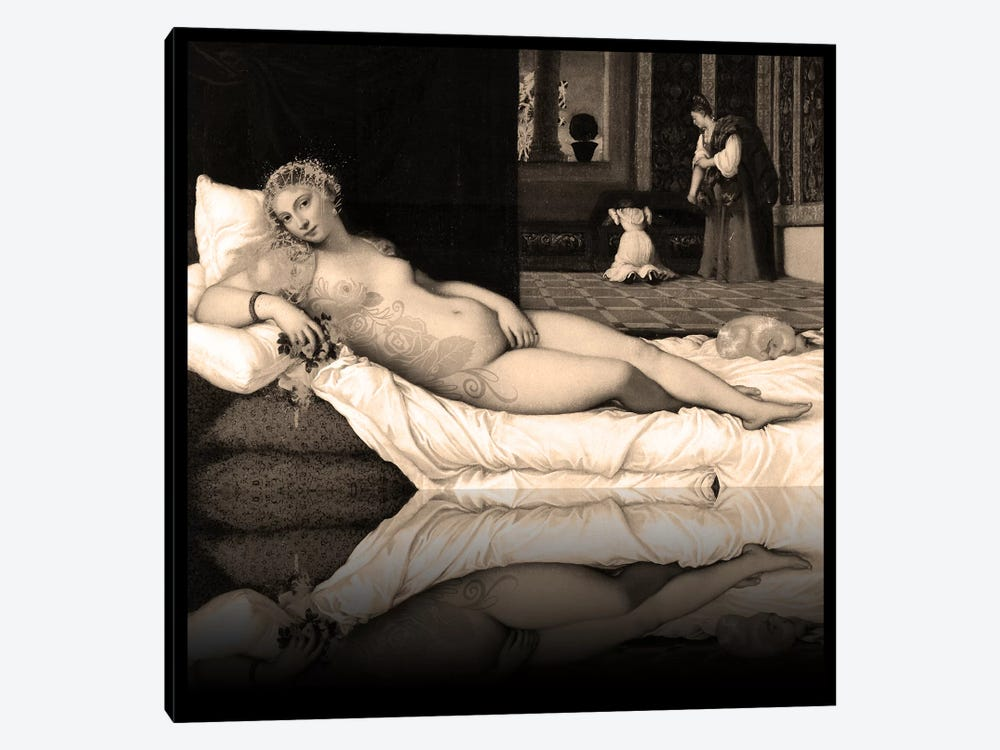 Venus of Urbino -The Lady waiting to be Dressed Sepia by 5by5collective 1-piece Canvas Art