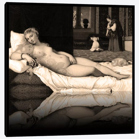 Venus of Urbino -The Lady waiting to be Dressed Sepia Canvas Print #RRX49} by 5by5collective Canvas Art Print