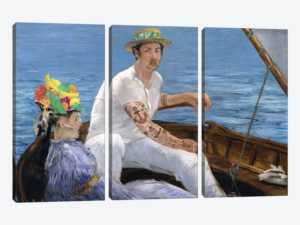 Boating - A Couple Sailing on the Boat  by 5by5collective 3-piece Canvas Print