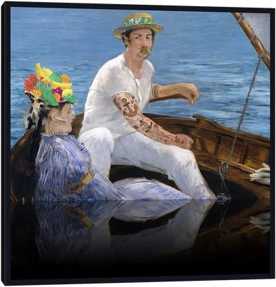 Boating - A Couple Sailing on the Boat Green, Blue, and Yellow Canvas Art Print