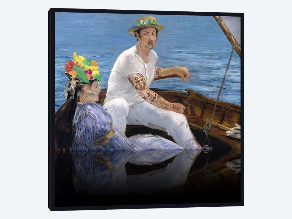 Boating - A Couple Sailing on the Boat Green, Blue, and Yellow by 5by5collective 1-piece Canvas Art