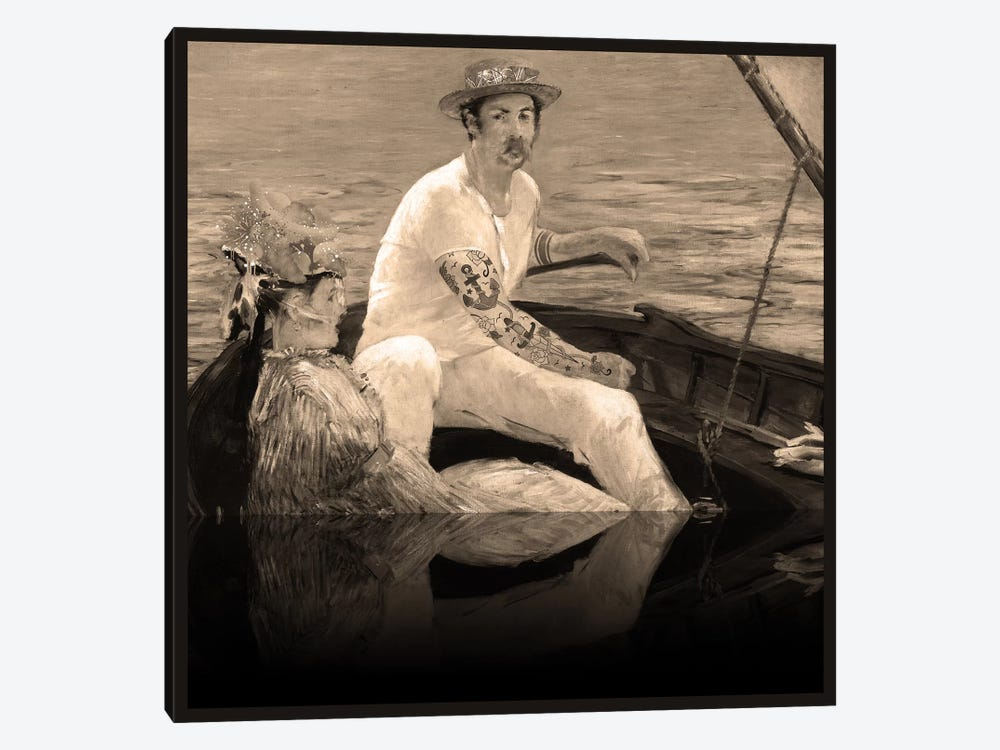 Boating - A Couple Sailing on the Boat Sepia by 5by5collective 1-piece Art Print