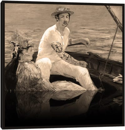 Boating - A Couple Sailing on the Boat Sepia Canvas Art Print