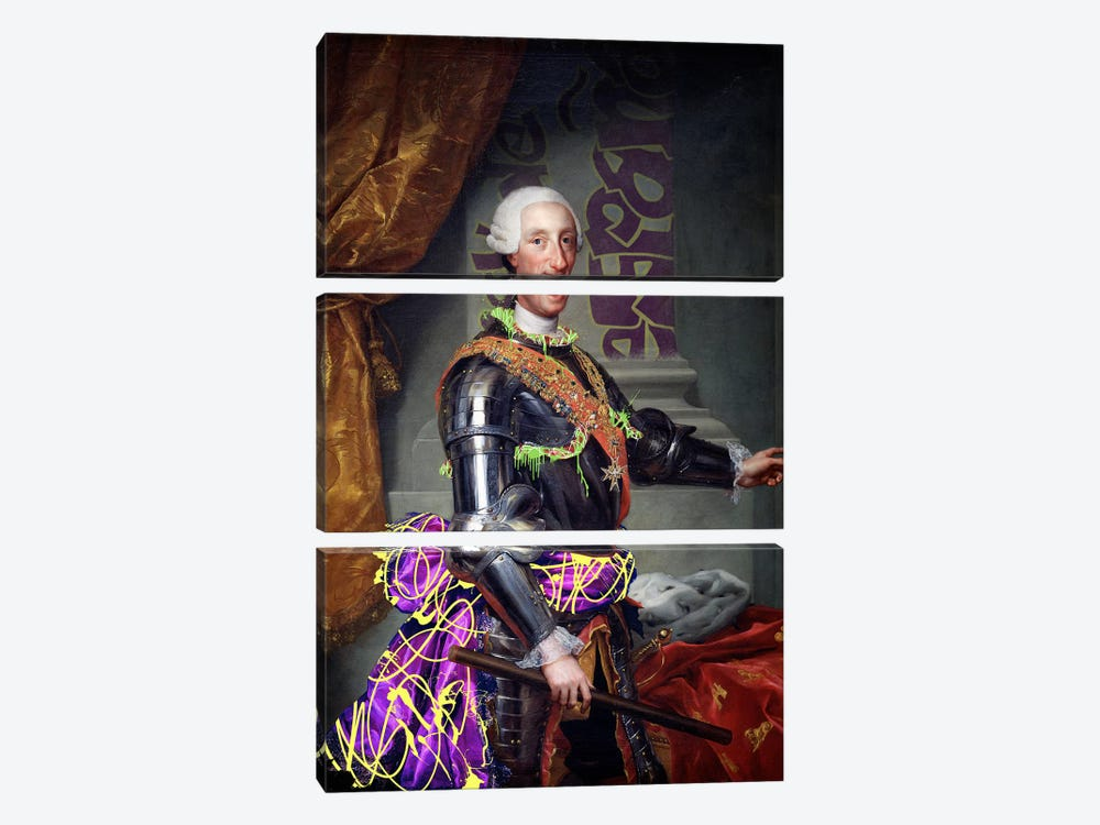 Portrait of Charles III of Spain -King of Spain with a Fancy Wardrobe by 5by5collective 3-piece Canvas Artwork