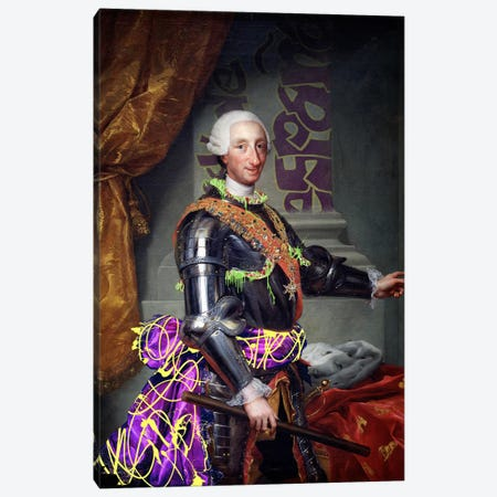 Portrait of Charles III of Spain -King of Spain with a Fancy Wardrobe 3-Piece Canvas #RRX7} by 5by5collective Art Print
