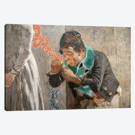 Charlotte Corday -Man with Fox Scarf  Canvas Print #RRX8} by 5by5collective Canvas Art